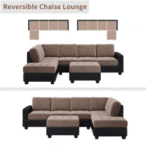 Convertible Sectional Sofa with Reversible Chaise, L Shaped Couch Set with Storage Ottoman and Two Cup Holders for Living Room 2