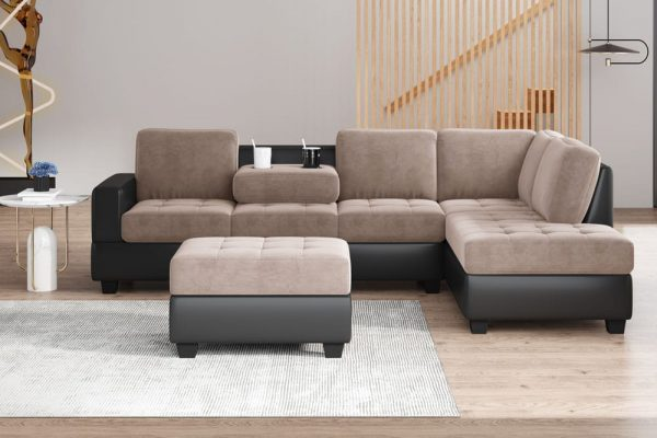 Convertible Sectional Sofa with Reversible Chaise, L Shaped Couch Set with Storage Ottoman and Two Cup Holders for Living Room