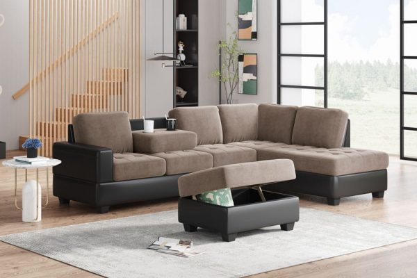 Convertible Sectional Sofa with Reversible Chaise, L Shaped Couch Set with Storage Ottoman and Two Cup Holders for Living Room1