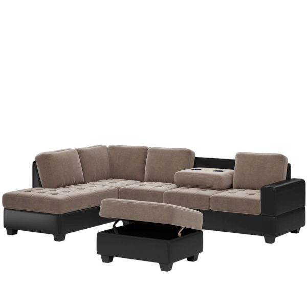 Convertible Sectional Sofa with Reversible Chaise, L Shaped Couch Set with Storage Ottoman and Two Cup Holders for Living Room4