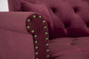 Convertible Sofa bed sleeper red velvet detail