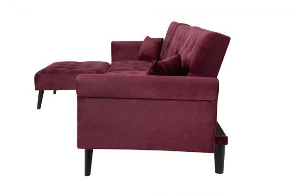 Convertible Sofa bed sleeper red velvet side