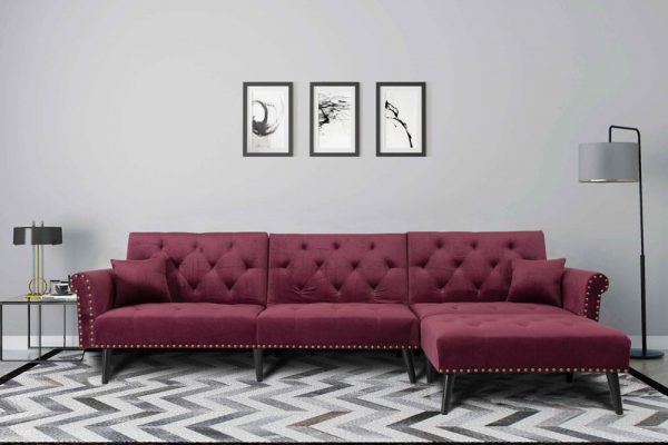Convertible Sofa bed sleeper red velvet1