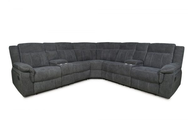MANNUAL MOTION SOFA GREY FABRIC front