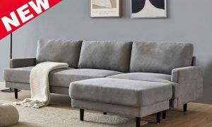 Modern fabric sofa L shape, 3 seater with ottoman-104.6 Gray