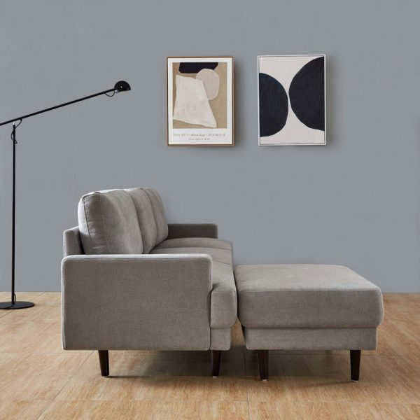 Modern fabric sofa L shape, 3 seater with ottoman-104.6 Gray side