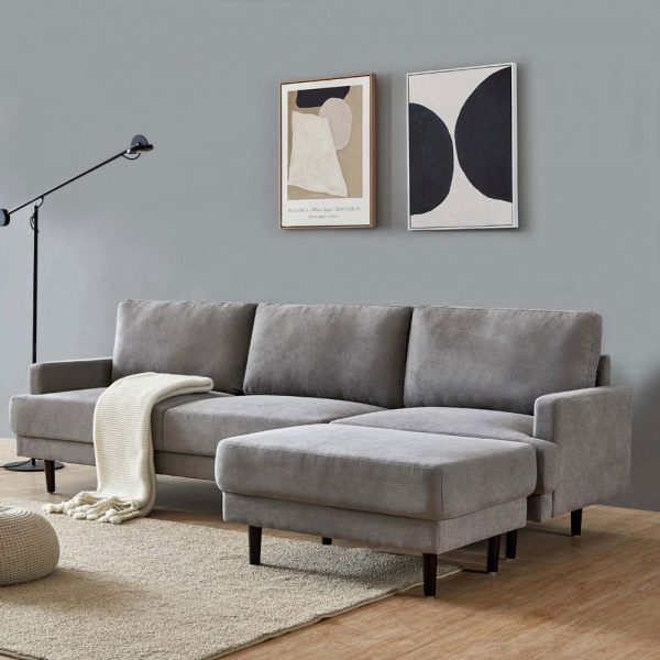 Modern fabric sofa L shape, 3 seater with ottoman-104.6 Gray side1