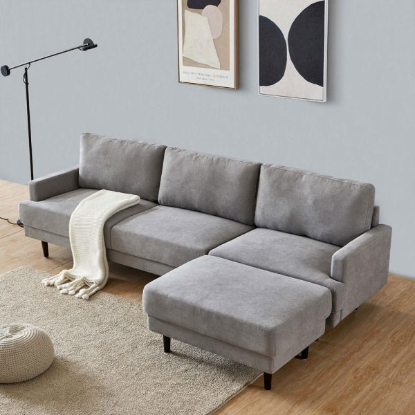 Modern fabric sofa L shape, 3 seater with ottoman-104.6 Gray side2