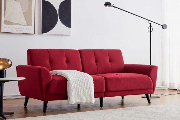 Modern ployester fabric sofa 71W Red