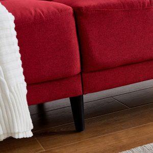 Modern ployester fabric sofa 71W Red details1