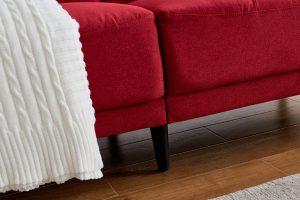 Modern ployester fabric sofa 71W Red details2