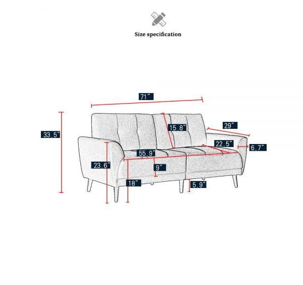 Modern ployester fabric sofa 71W Red size
