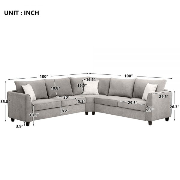 """New] 100100"""" Big Sectional Sofa Couch L Shape Couch for Home Use Fabric Grey 3 Pillows Included size"""