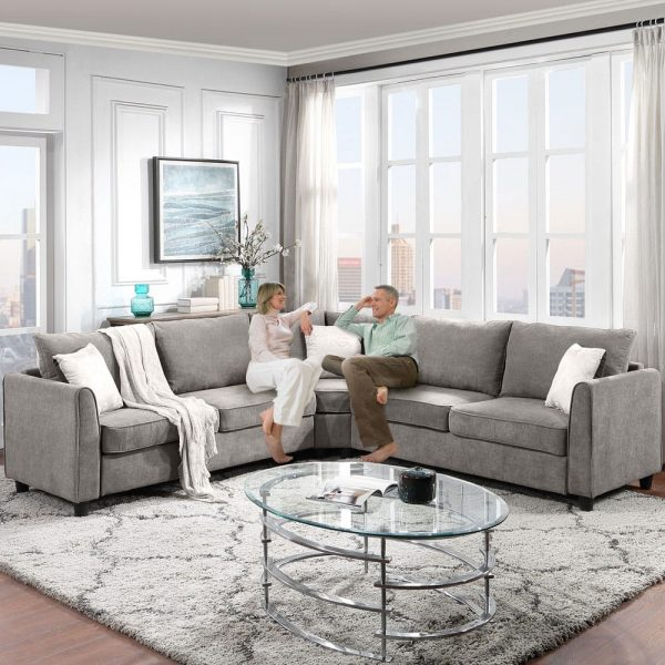 """New] 100100"""" Big Sectional Sofa Couch L Shape Couch for Home Use Fabric Grey 3 Pillows Included3"""