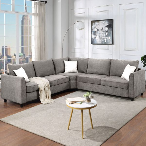 """New] 100100"""" Big Sectional Sofa Couch L Shape Couch for Home Use Fabric Grey 3 Pillows Included4"""