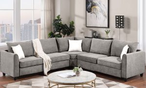 """New] 100100"""" Big Sectional Sofa Couch L Shape Couch for Home Use Fabric Grey 3 Pillows Included5"""