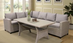 Patio Outdoor Furniture PE Rattan Wicker Conversation Set All-Weather Sectional Sofa Set with Table & Soft Cushions3