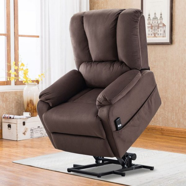Power Lift Chair for Elderly Reclining Chair Sofa Electric Recliner Chairs with Remote Control Soft Fabric Sofa, Chocolate