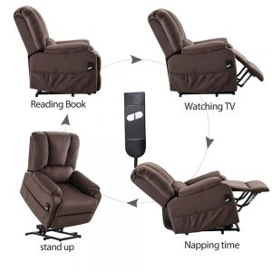 Power Lift Chair for Elderly Reclining Chair Sofa Electric Recliner Chairs with Remote Control Soft Fabric Sofa, Chocolate Function