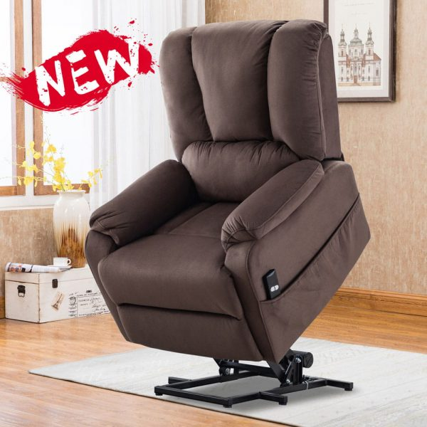 Power Lift Chair for Elderly Reclining Chair Sofa Electric Recliner Chairs with Remote Control Soft Fabric Sofa, Chocolate1