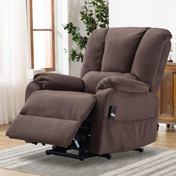 Power Lift Chair for Elderly Reclining Chair Sofa Electric Recliner Chairs with Remote Control Soft Fabric Sofa, Chocolate2