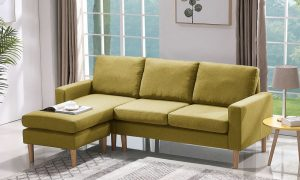 RELAX LOUNGE SECTIONAL SOFA LEFT FACING YELLOW FABRIC