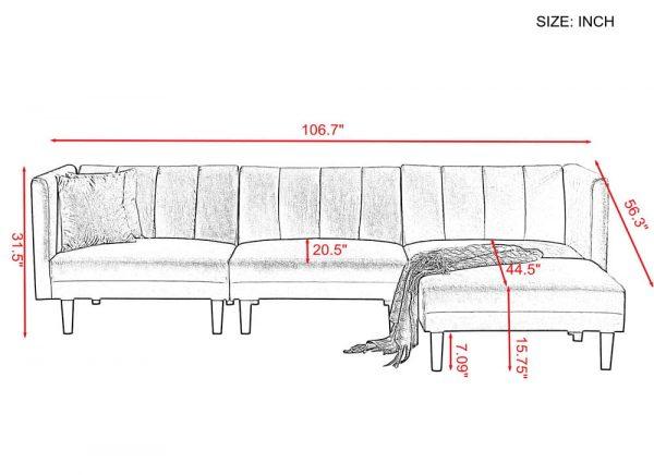 REVERSIBLE SECTIONAL SOFA SLEEPER WITH 2 PILLOWS DARK GREEN VELVET details size