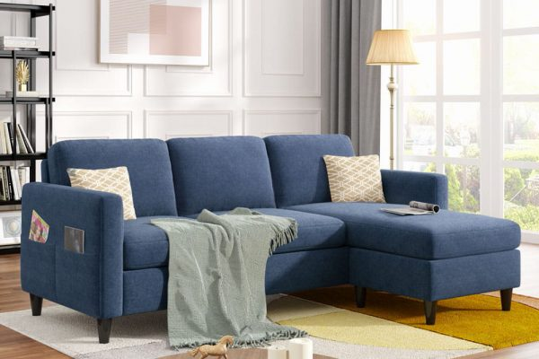 Reversible Sectional Sofa with Handy Side Pocket,Living Room L-Shape 3-Seater Couch with Modern Linen Fabric for Small Space