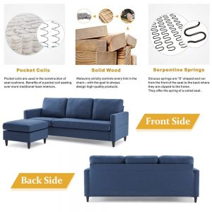 Reversible Sectional Sofa with Handy Side Pocket,Living Room L-Shape 3-Seater Couch with Modern Linen Fabric for Small Space detail