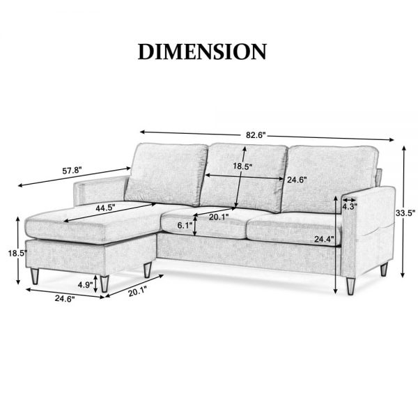 Reversible Sectional Sofa with Handy Side Pocket,Living Room L-Shape 3-Seater Couch with Modern Linen Fabric for Small Space detail size