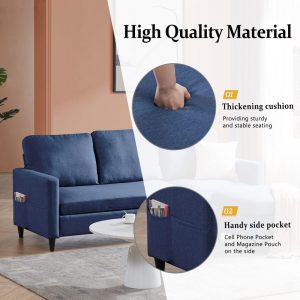 Reversible Sectional Sofa with Handy Side Pocket,Living Room L-Shape 3-Seater Couch with Modern Linen Fabric for Small Space detail1