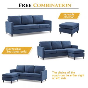 Reversible Sectional Sofa with Handy Side Pocket,Living Room L-Shape 3-Seater Couch with Modern Linen Fabric for Small Space detail2