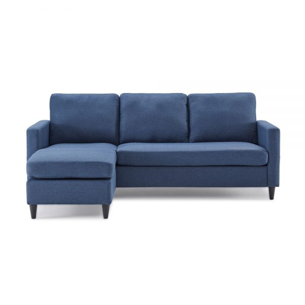 Reversible Sectional Sofa with Handy Side Pocket,Living Room L-Shape 3-Seater Couch with Modern Linen Fabric for Small Space front