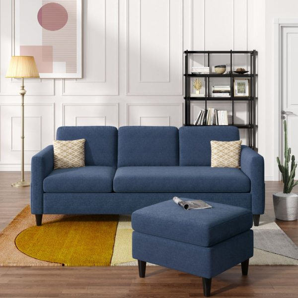 Reversible Sectional Sofa with Handy Side Pocket,Living Room L-Shape 3-Seater Couch with Modern Linen Fabric for Small Space1