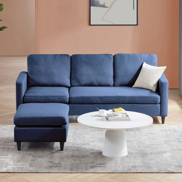 Reversible Sectional Sofa with Handy Side Pocket,Living Room L-Shape 3-Seater Couch with Modern Linen Fabric for Small Space2