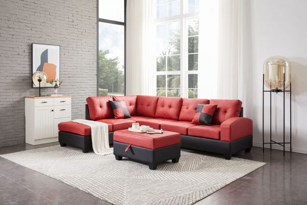 Sectional 3-seaters sofa with reversible chaise, storage ottoman and cup holders ,two small pillows ,red