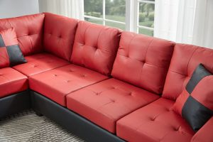 Sectional 3-seaters sofa with reversible chaise, storage ottoman and cup holders ,two small pillows ,red detail3