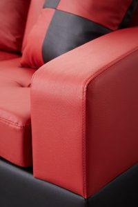 Sectional 3-seaters sofa with reversible chaise, storage ottoman and cup holders ,two small pillows ,red detail4