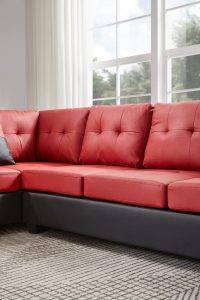 Sectional 3-seaters sofa with reversible chaise, storage ottoman and cup holders ,two small pillows ,red detail6