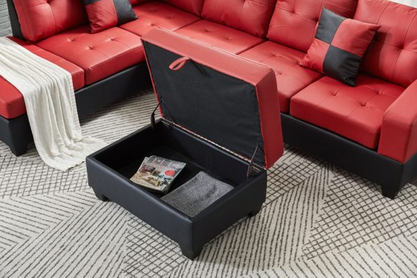 Sectional 3-seaters sofa with reversible chaise, storage ottoman and cup holders ,two small pillows ,red ottoman