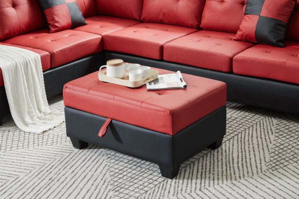Sectional 3-seaters sofa with reversible chaise, storage ottoman and cup holders ,two small pillows ,red ottoman1