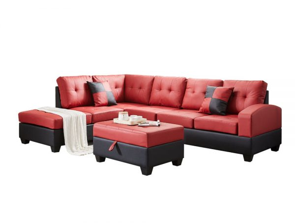 Sectional 3-seaters sofa with reversible chaise, storage ottoman and cup holders ,two small pillows ,red side