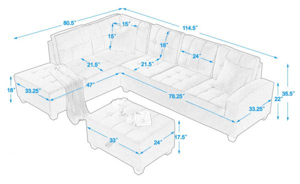 Sectional 3-seaters sofa with reversible chaise, storage ottoman and cup holders ,two small pillows ,red size