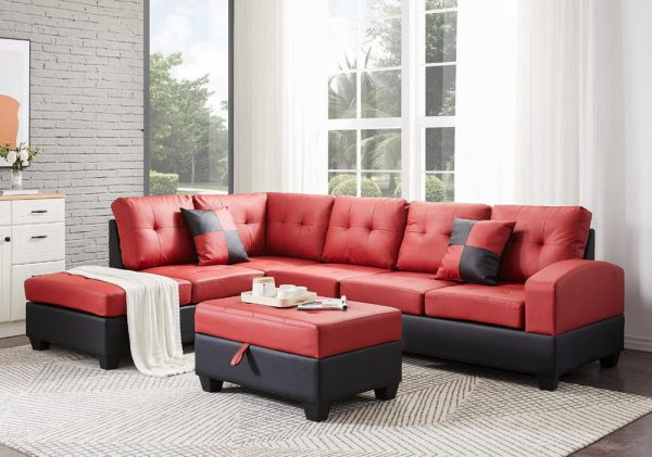 Sectional 3-seaters sofa with reversible chaise, storage ottoman and cup holders ,two small pillows ,red1