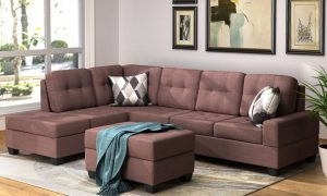 Sectional Sofa with Reversible Chaise Lounge, L-Shaped Couch with Storage Ottoman and Cup Holders