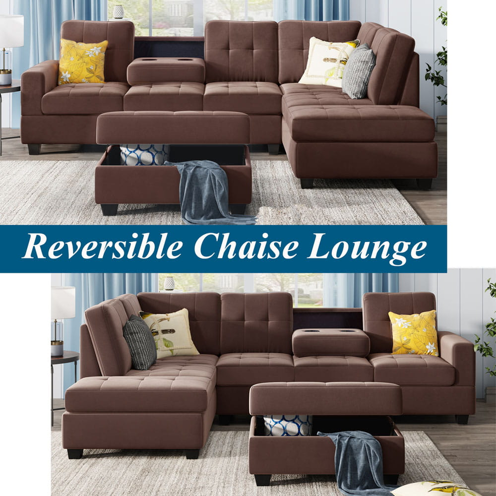 Sectional Sofa with Reversible Chaise Lounge, L-Shaped Couch with Storage Ottoman and Cup Holders detail1