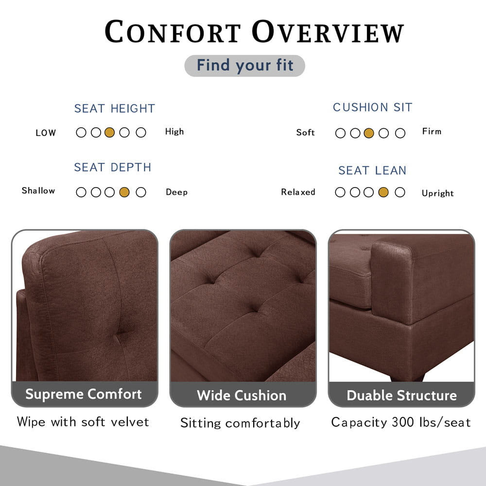 Sectional Sofa with Reversible Chaise Lounge, L-Shaped Couch with Storage Ottoman and Cup Holders detail2