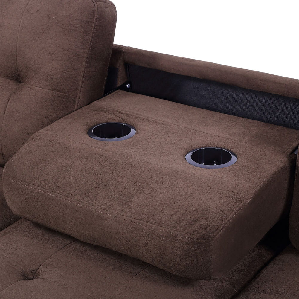 Sectional Sofa with Reversible Chaise Lounge, L-Shaped Couch with Storage Ottoman and Cup Holders detail3