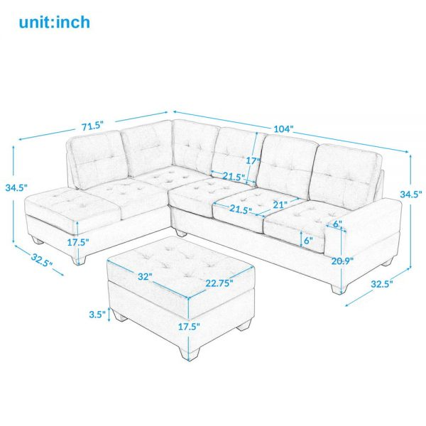 Sectional Sofa with Reversible Chaise Lounge, L-Shaped Couch with Storage Ottoman and Cup Holders size