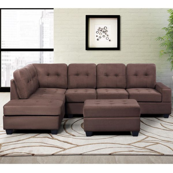 Sectional Sofa with Reversible Chaise Lounge, L-Shaped Couch with Storage Ottoman and Cup Holders1
